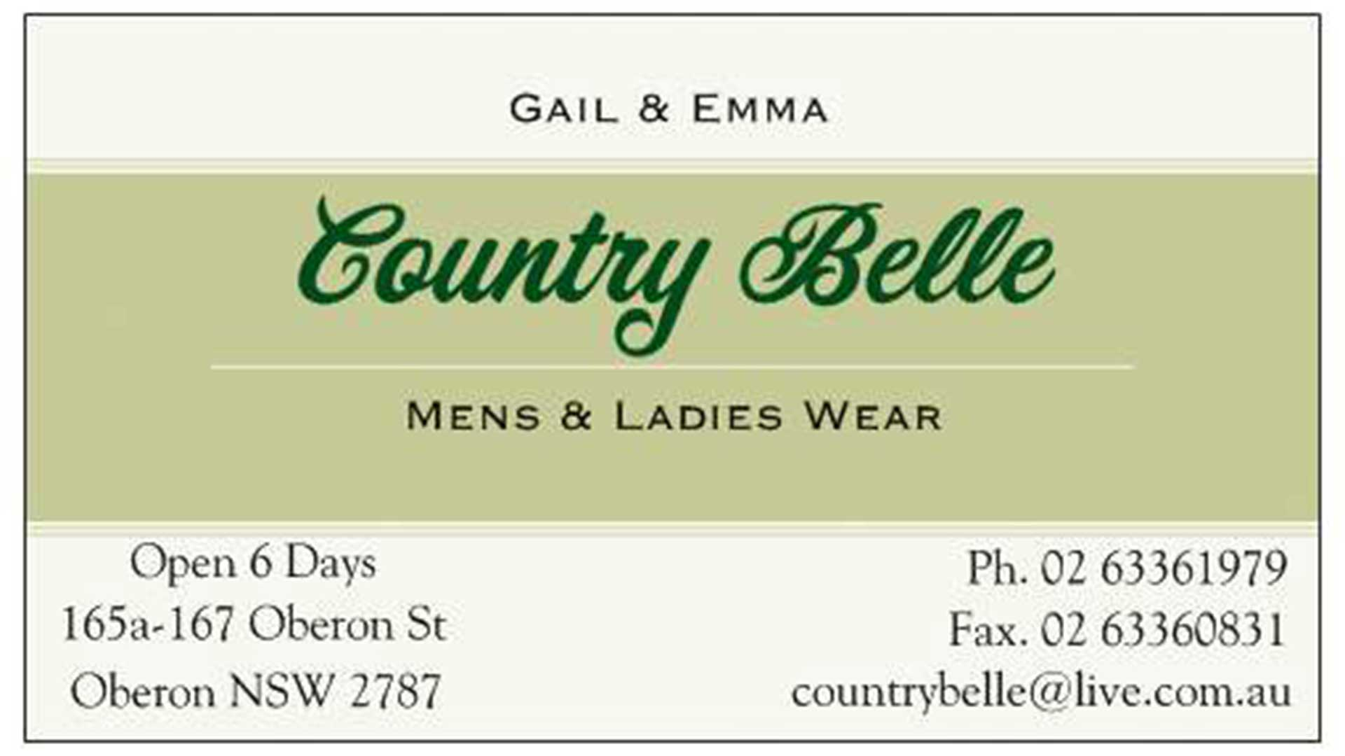 Business - Country Belle Clothing | Visit Oberon