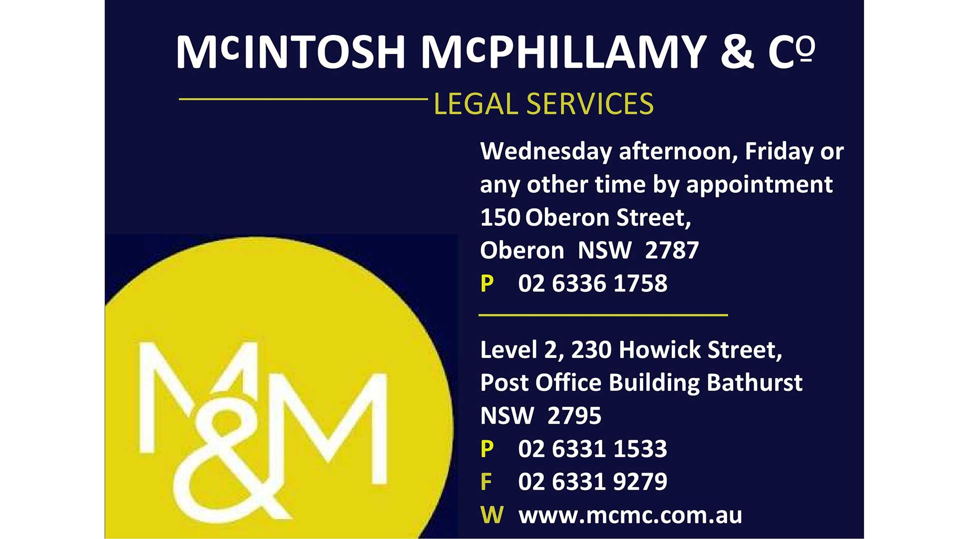 Business - Mcintosh Mcphillamy & Co Legal Services | Visit Oberon